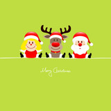 Sitting Angel, Rudolph & Santa Light Green Background