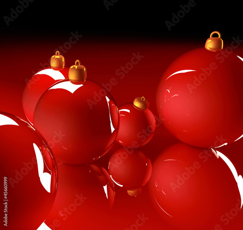 Christmas glossy baubles red balls 3d render