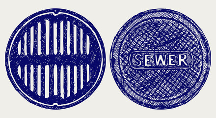 Sewer. Doodle style