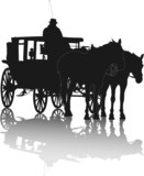 Silhouette of two horses and coach with coachman with reflection poster