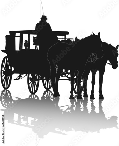 Silhouette of two horses and coach with coachman with reflection