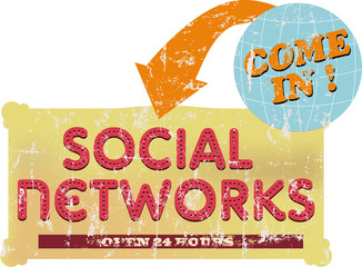 vintage social networks sign or button, grungy