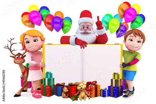 santa with book and kids