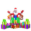 enjoying santa claus with kids and gifts
