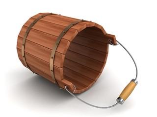 empty lying wooden bucket on white background