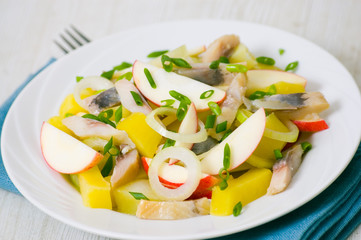 herring salad with apple and potato