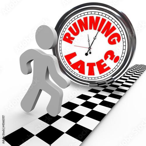 Running Late Racing Clock Time Tardiness Slow
