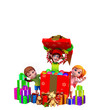 elves coming out of box with kids