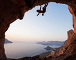 Silhouette of a rock climber at sunset, Kalymnos Island, Greece