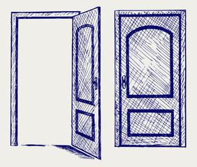 Open door. Doodle style