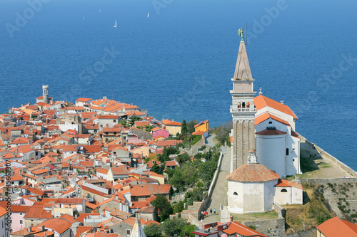 View on the historical city of Piran, Slovenia.