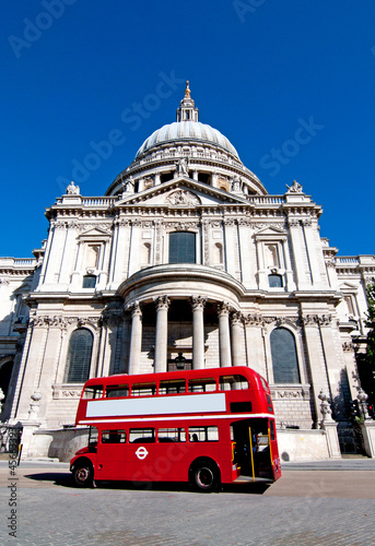 Poster London St Pauls Cathedral and old bus