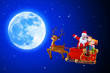 santa on blue background with moon
