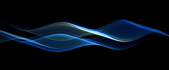 Abstract blue fractal wave on black background
