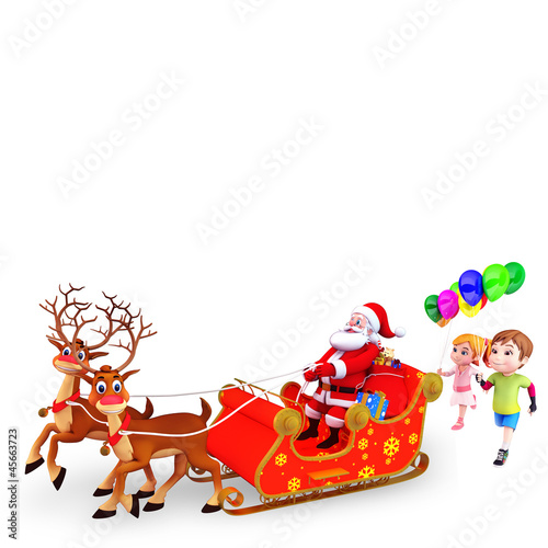 santa and his sleigh with kids