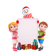 snowman with sign and kids