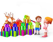 kids pointing to gifts and reindeer