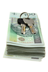 Stacks of Polish money and house keys
