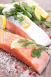 raw salmon and ingredient