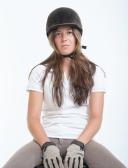 Girl in riding gear