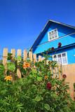 blue rural house on celestial background poster