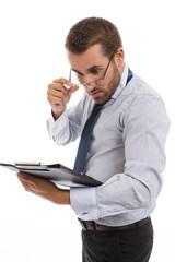 Surprised businessman holding folder