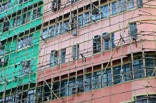 bamboo scaffolding of repairing old buildings