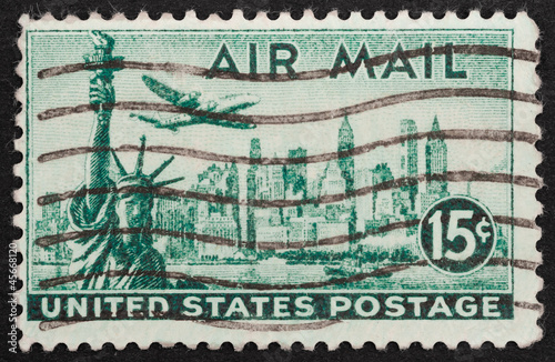 USA air mail stamp featuring the New York skyline, circa 1947