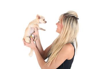 Frau mit Chihuahua