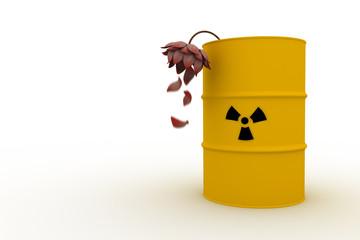 radioaktives Fass mit verwelkender Blume