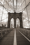 Brooklyn Bridge in New York City. Sepia tone. - 45668708
