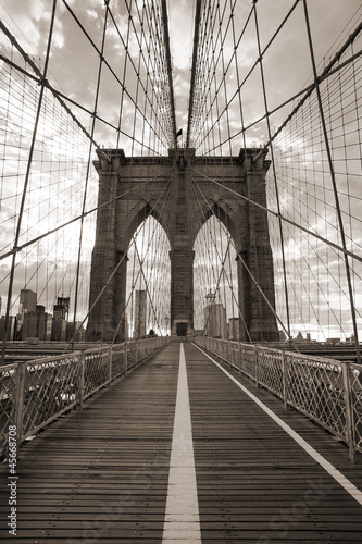Fotobehang Meest verkochte foto's Brooklyn Bridge in New York City. Sepia tone.