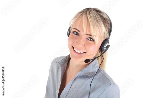Leinwanddruck Bild Frau mit Headset