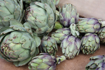 Fresh artichokes at a French market