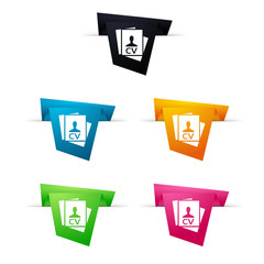 Symbole vectoriel papier origami CV / candidature