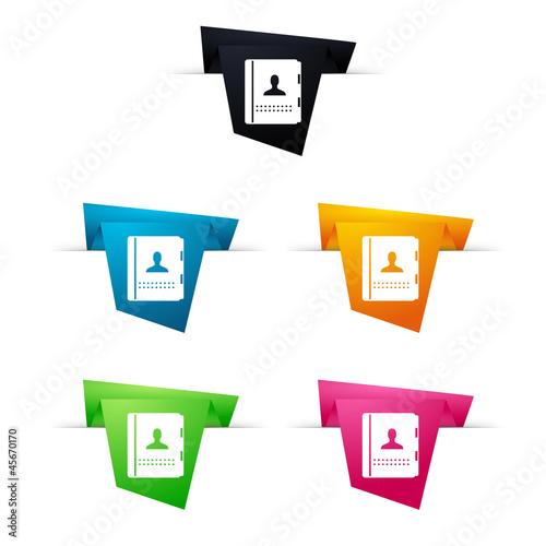 Symbole vectoriel papier origami agenda / contacts