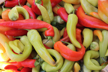 Fresh peppers at a market