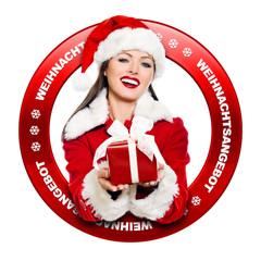 Button mit Weihnachtpaket