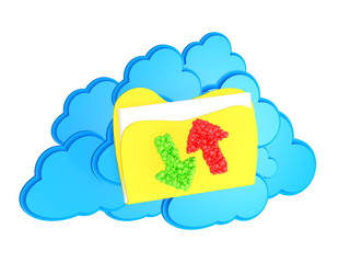 cloud computing icon with folder and upload and download arrows