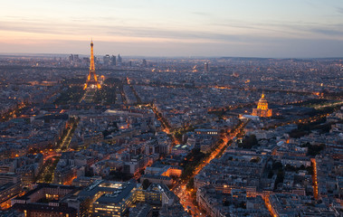 Night Paris. France. Top view.