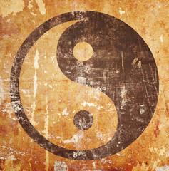 Yin yang symbol on grunge