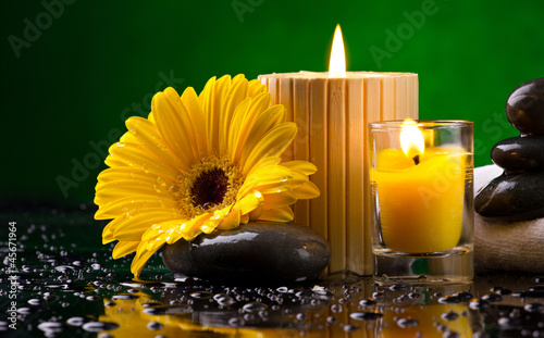 Spa still life with  flower, candles and water drop