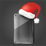 transparency glass plate with santa claus hat  on the metallic b