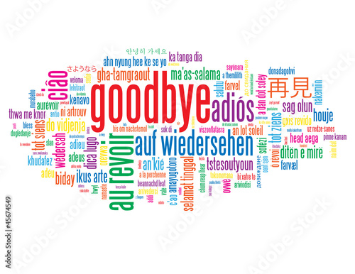 """GOODBYE"" Tag Cloud (farewell good luck travel au revoir adios)"