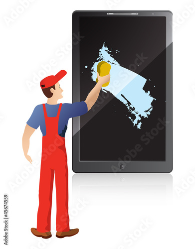 worker washing screen of mobile phone