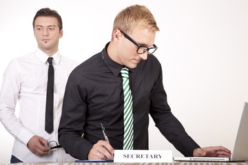 Young male secretaries