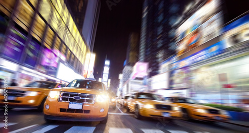 New York Taxi on Time Square in the night