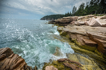 Ocean Waves crashing on the rocky shore of Acadia National Park