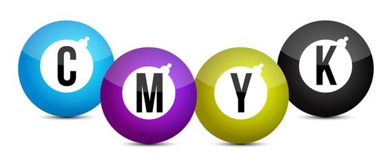 cmyk color balls over white background