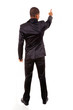 Full length of a African business man pointing at copyspace isol